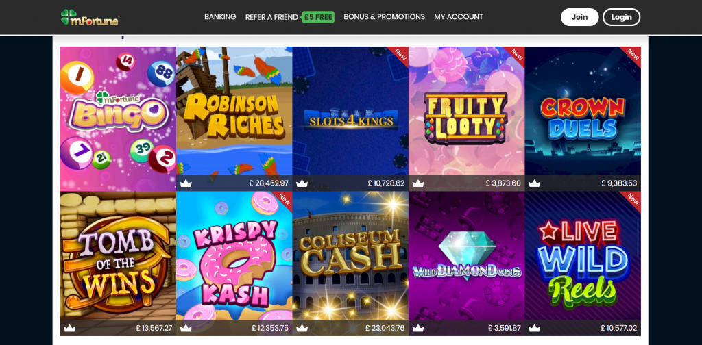 mFortune Casino Top Games