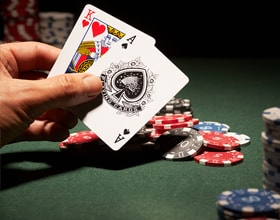 Blackjack Hand And Chips