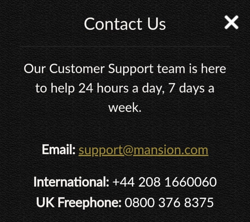 mansion casino review customer support
