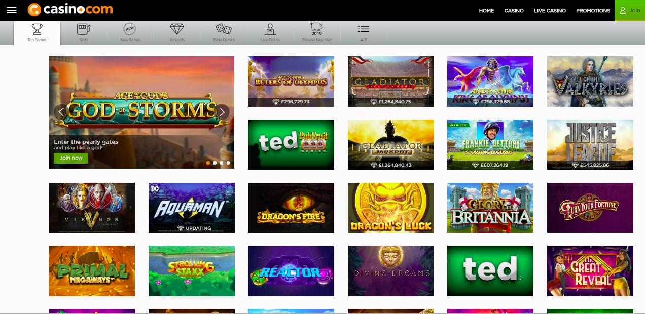 Casino.com Games Page Screenshot