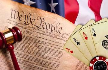America Flag With Playing Cards, Gavel, Casino Chip And Constitution Page