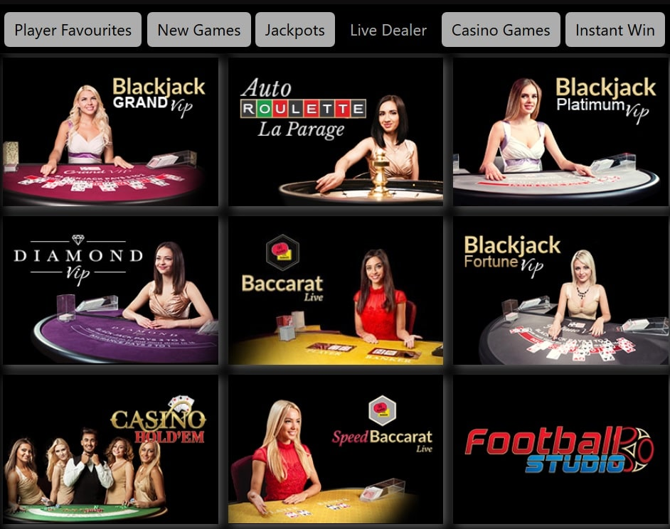 black spins live dealer games selection