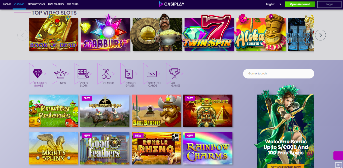 Casiplay Games Page Screenshot