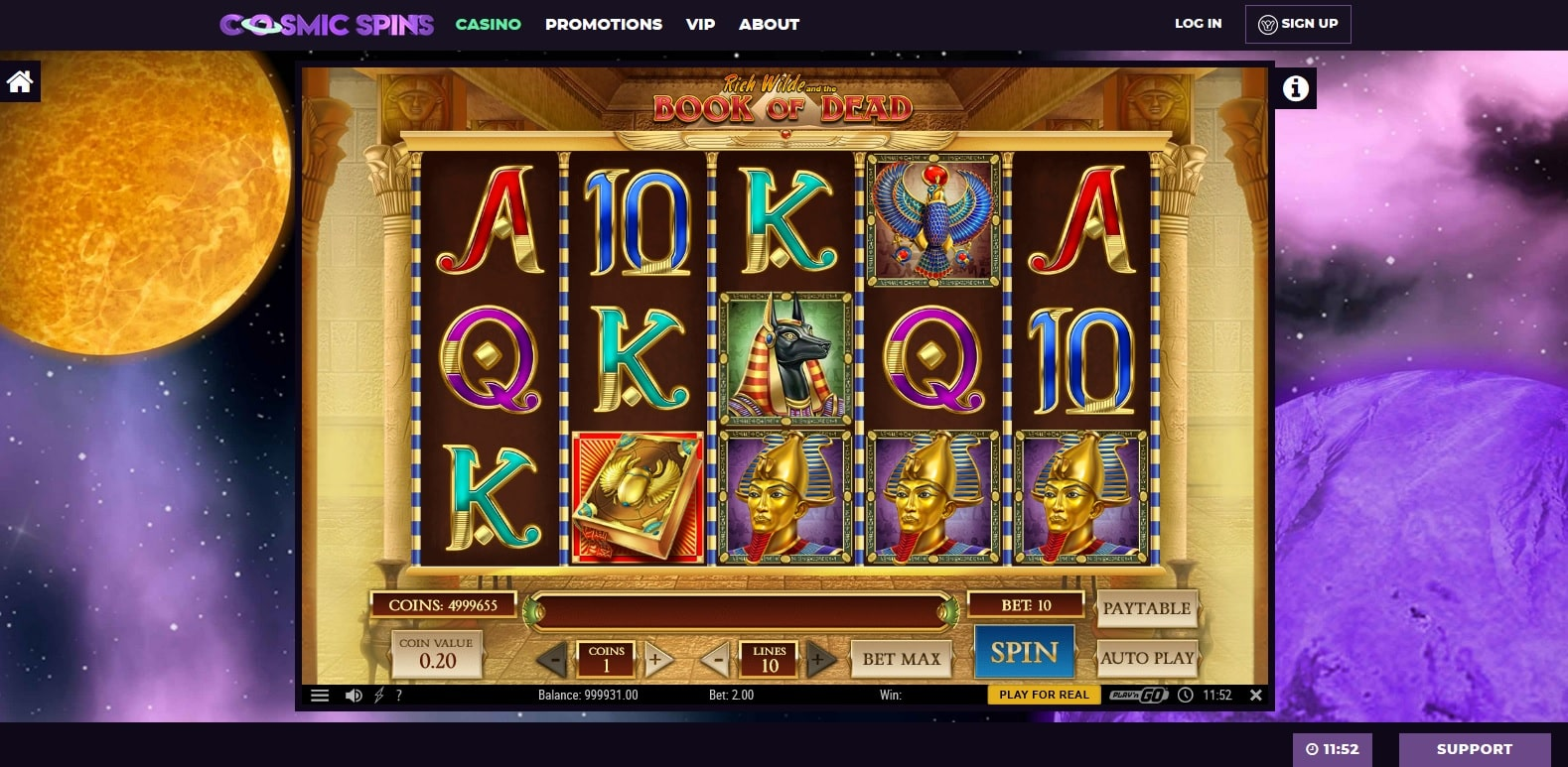 cosmic spins casino gameplay book of dead slot