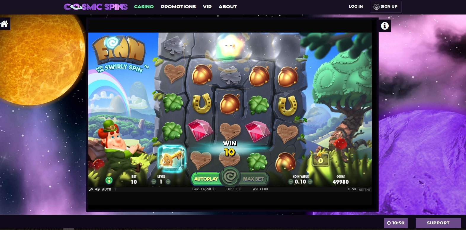 cosmic spins casino gameplay finn and the swirly spin slot
