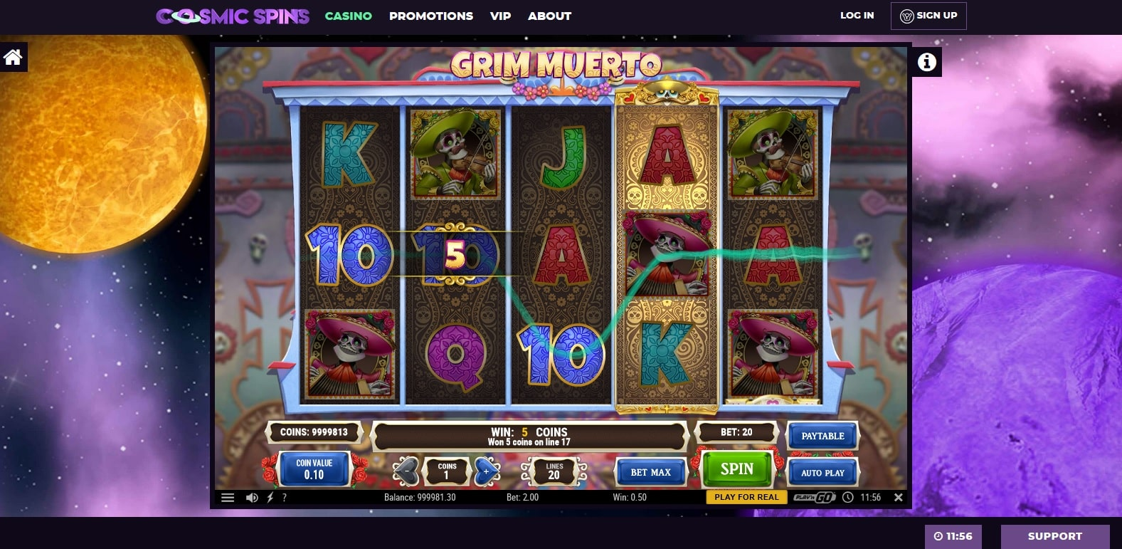 cosmic spins casino gameplay grim muerto slot