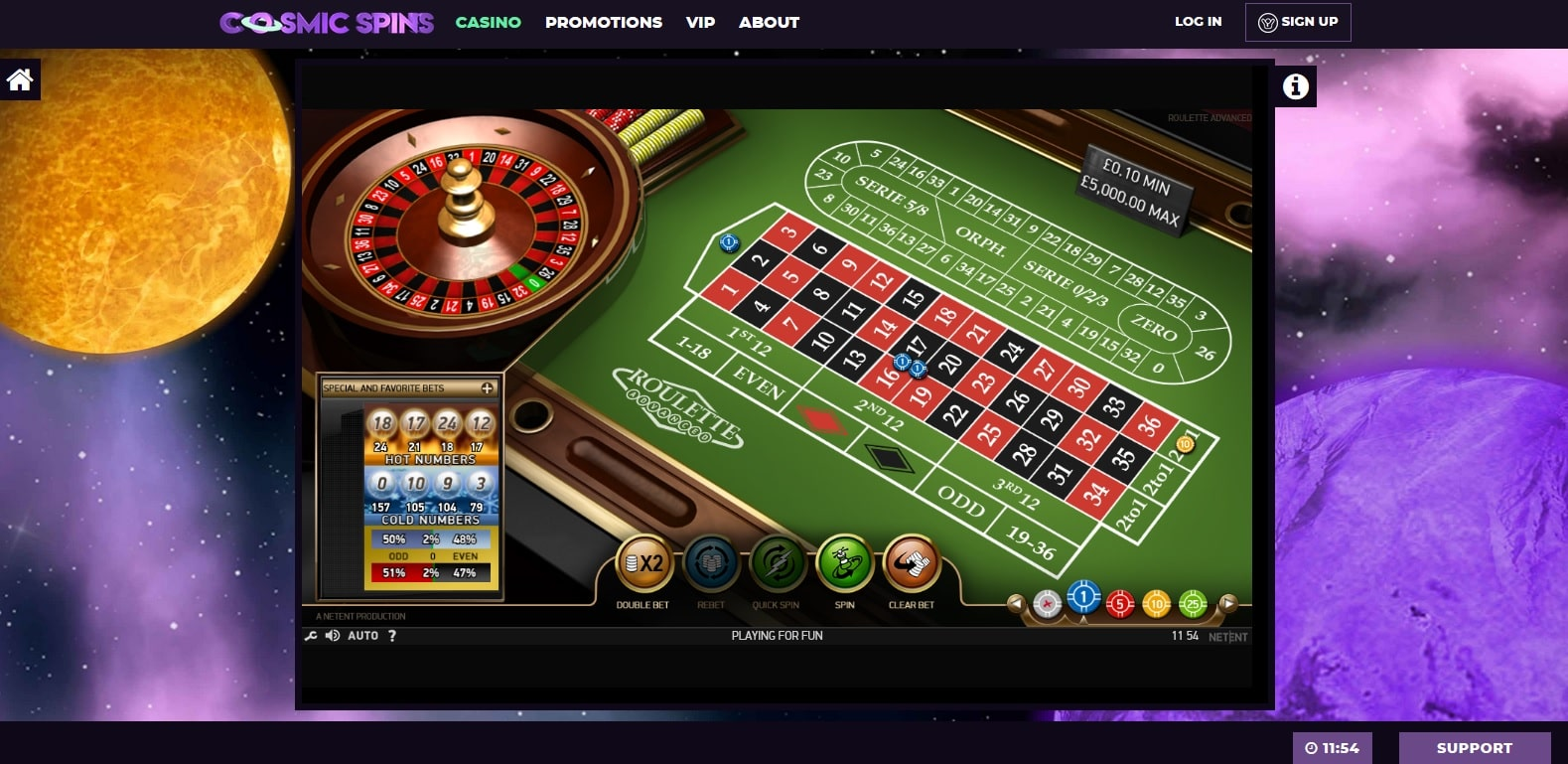 cosmic spins casino gameplay roulette advanced