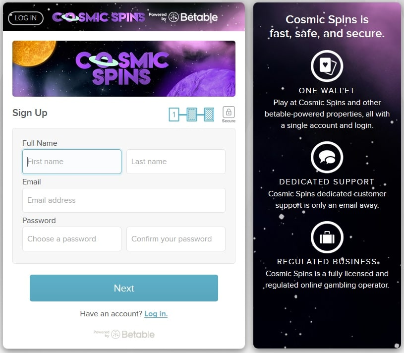 cosmic spins sign up screen