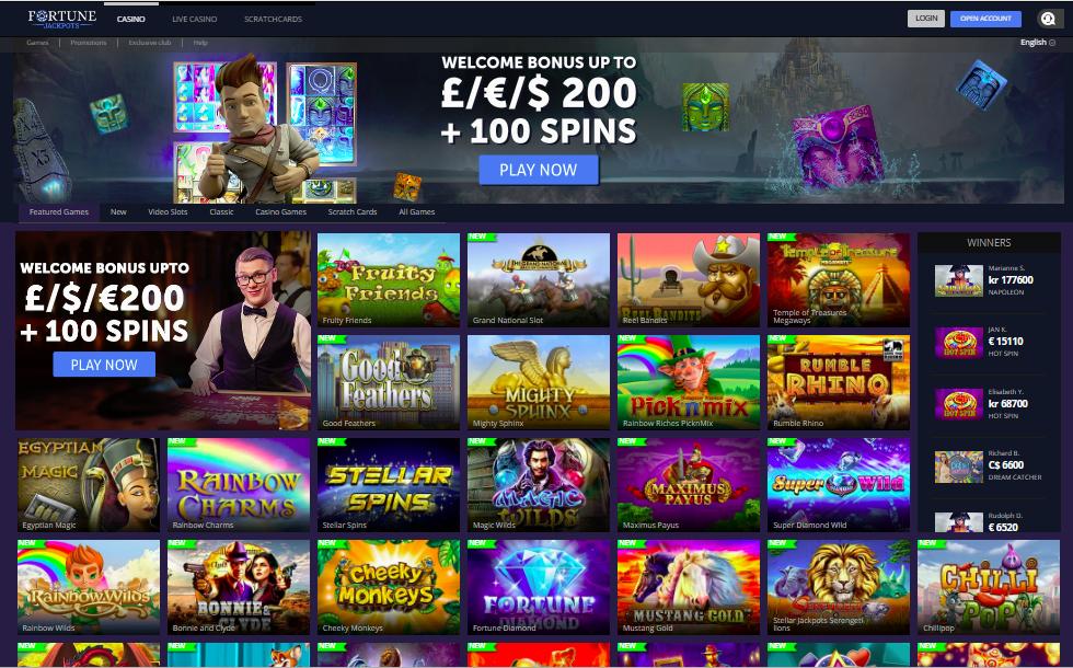 Fortune Jackpots Casino Lobby Screenshot