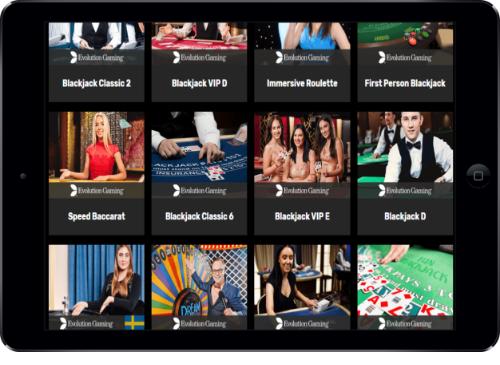 iPad Hyper Casino Live Casino Lobby