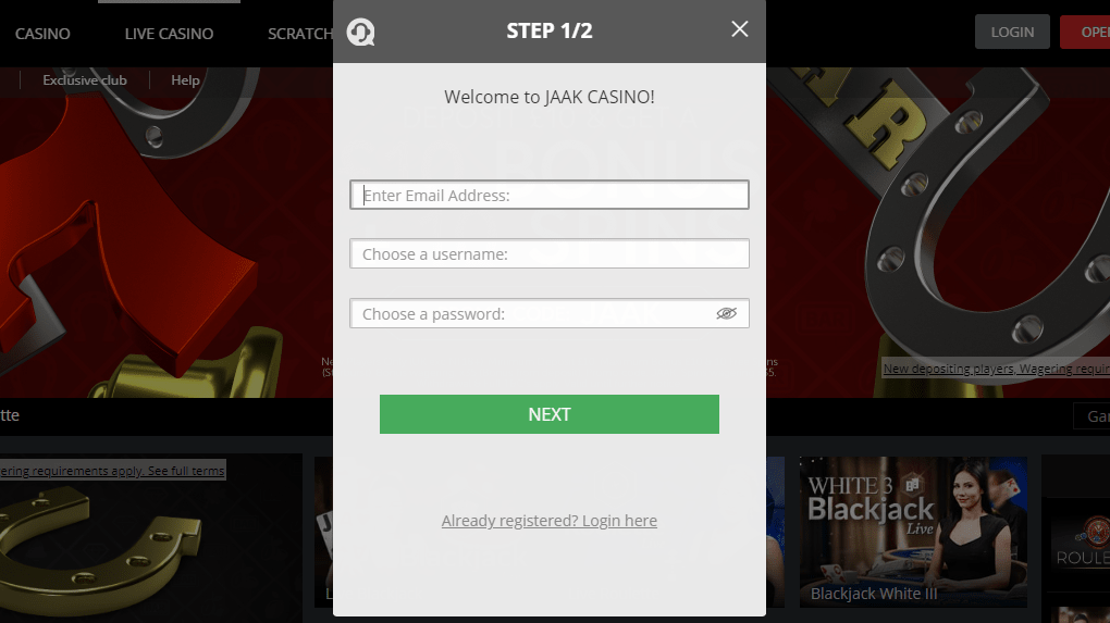 Jaak Casino Registration Screen
