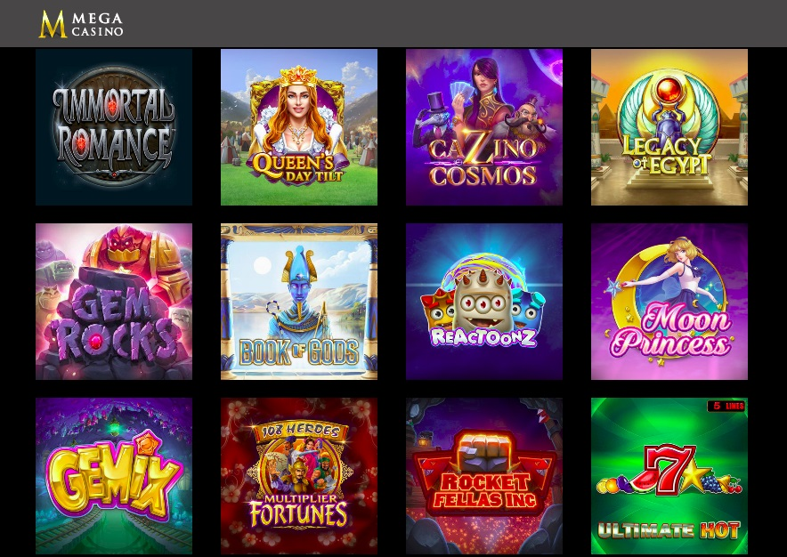 Mega Casino Games Page