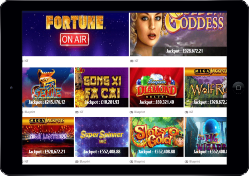 Play UK Casino Jackpots Lobby On Tablet