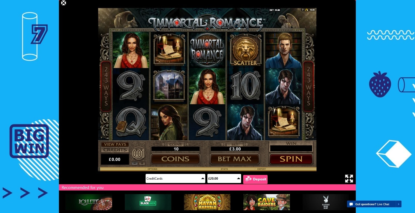 immortal romance slot bonzo spins casino