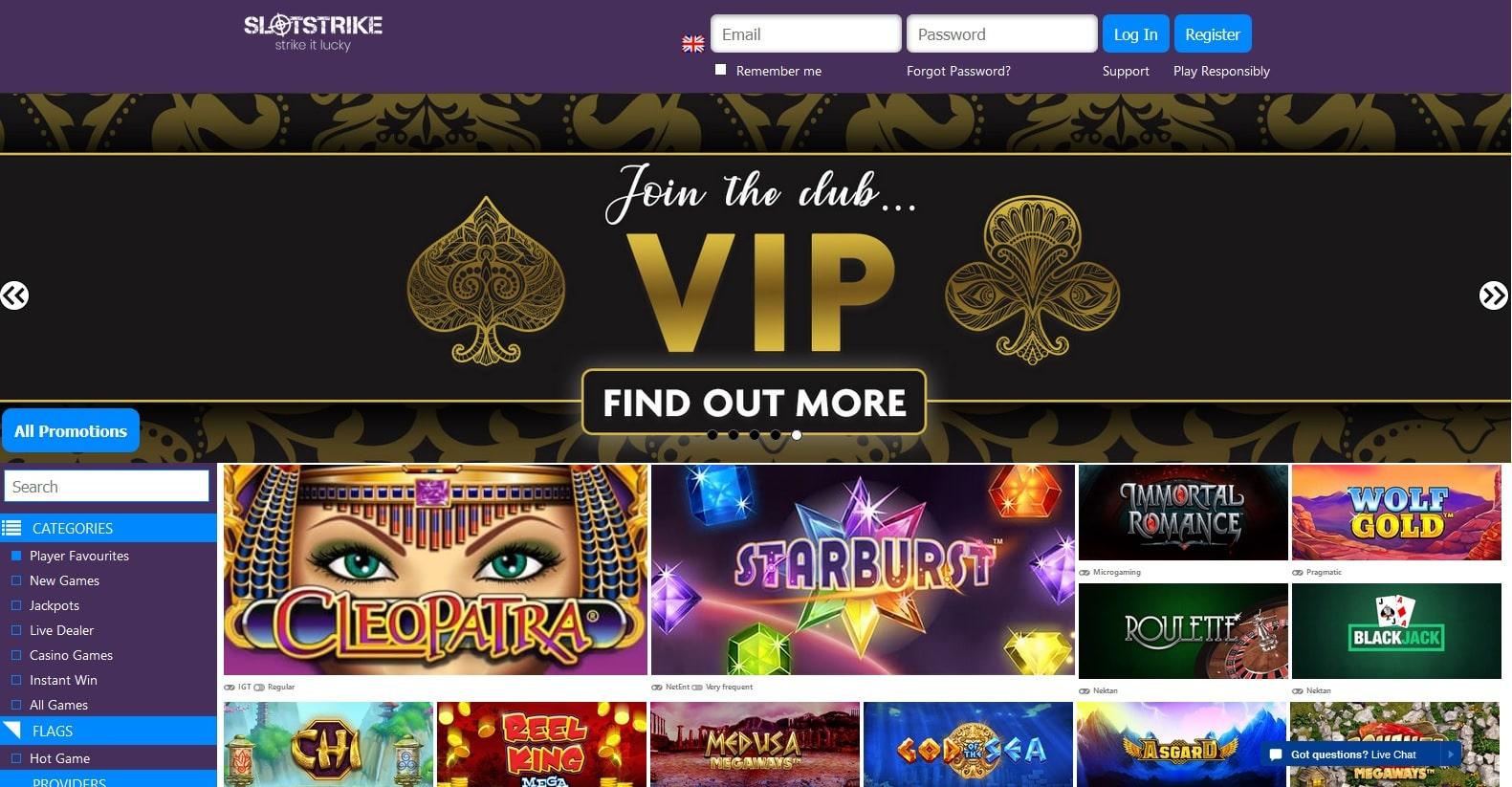 slotstrike mobile casino lobby