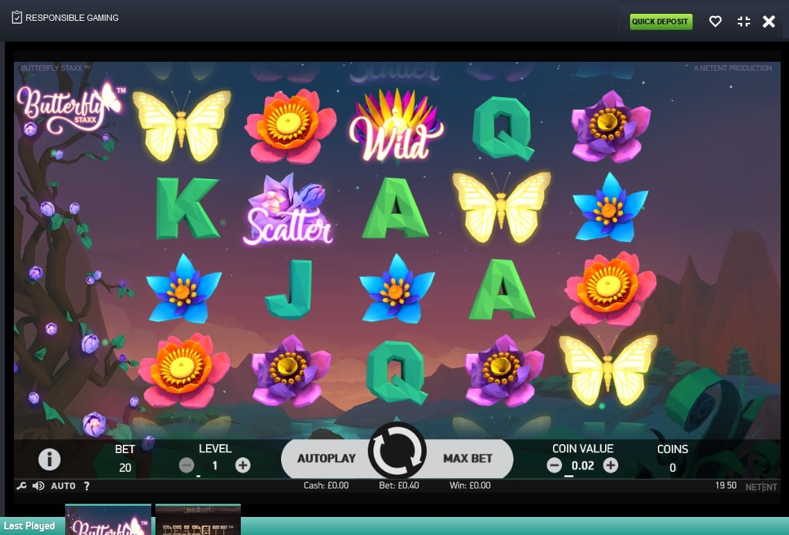spin and win casino butterfly staxx gameplay