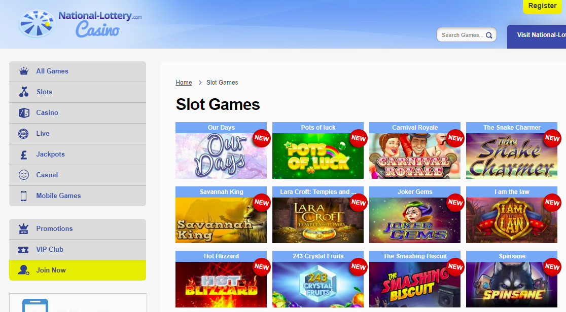 National Lottery Casino Games Page